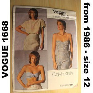 CUT VOGUE 1668 sewing pattern Calvin Klein tops